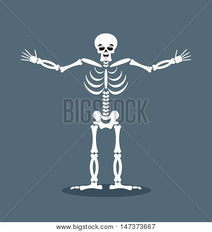 Happyl Skeleton Stretched Out His Arms In An Embrace. Good-natured Dead. Lovely Kind Of Skull And Bo
