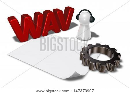 wav tag gear wheel and pawn with headphones - 3d rendering