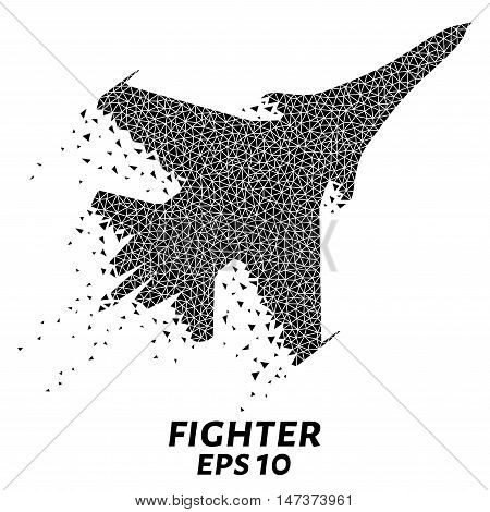 Fighter of the triangles, particle divergent composition, vector illustration. The Fighter composition of geometric shapes