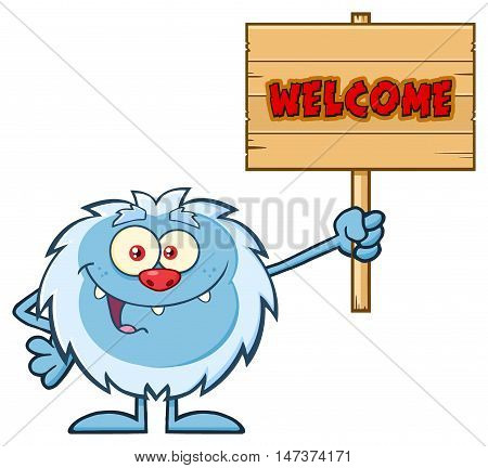 Cute Little Yeti Cartoon Mascot Character Holding Up A Welcome Wooden Sign. Illustration Isolated On White Background