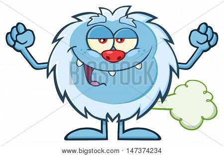 Smiling Little Yeti Cartoon Mascot Character Farting. Illustration Isolated On White Background