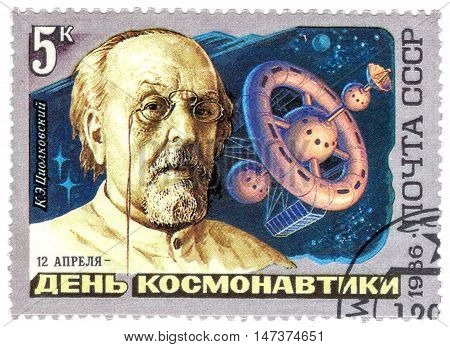 USSR - CIRCA 1986: A stamp printed in the USSR (Russia) shows Soviet scientist the father of astronautics Konstantin Tsiolkovsky circa 1986