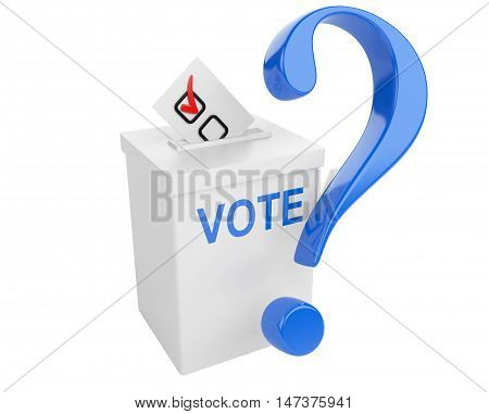 Voting concept. Paper in the ballot box and blue question sign. 3d illustration isolated on a white bacground.