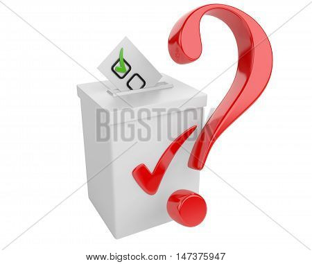 Voting concept. Paper in the ballot box and red question sign. 3d illustration isolated on a white bacground.