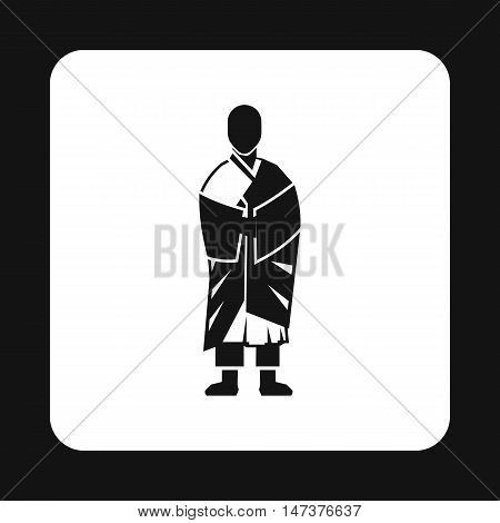 Monk icon in simple style isolated on white background. Religion symbol vector illustration
