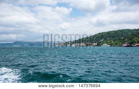 Panoramic view of Istanbul and Bosphorus bridge Turkey