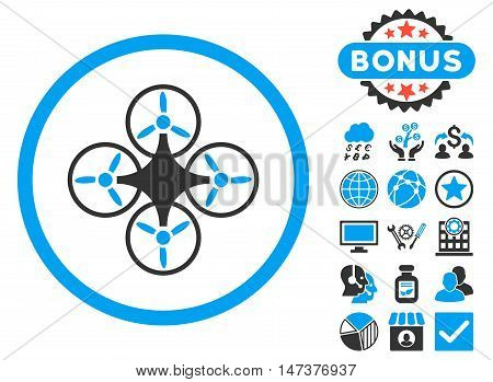 Air Drone icon with bonus design elements. Vector illustration style is flat iconic bicolor symbols, blue and gray colors, white background.