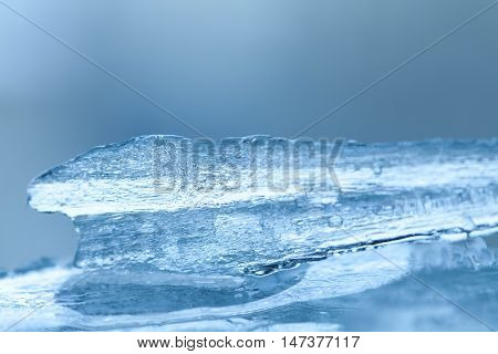 Frozen ice texture macro view. Cold winter icy background. Soft focus photo