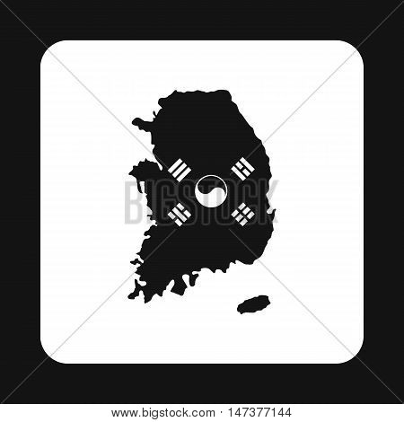 Map of South Korea icon in simple style isolated on white background. State symbol vector illustration