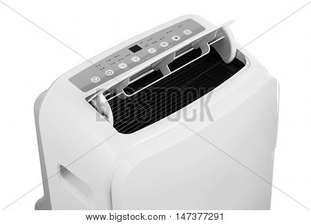 Studio closeup product shot of a portable air conditioner or mobile dehumidifier
