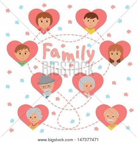 Grandparents parents and children in pink hearts. Family icons set and lettering