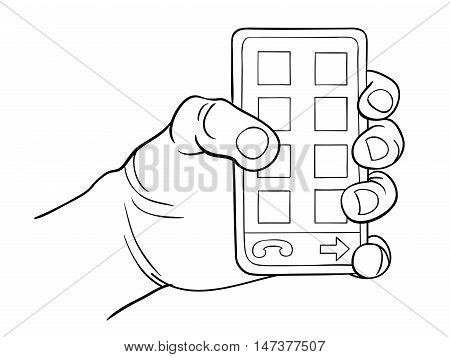 Hand holding smart phone. Vector illustration freehand drawing style.
