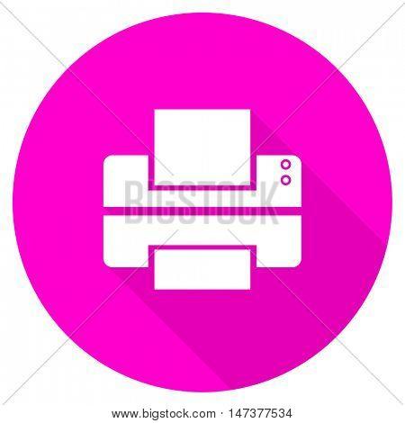 printer flat pink icon