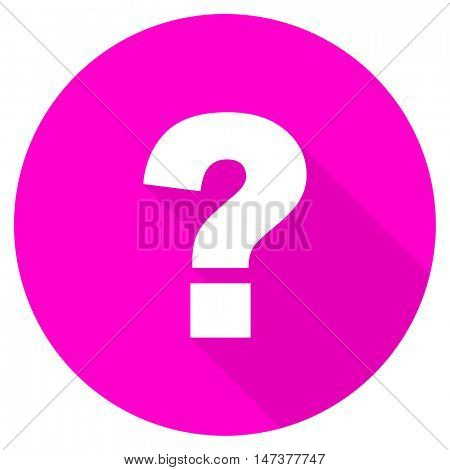 question mark flat pink icon