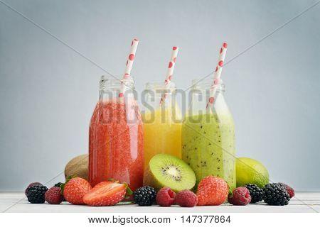Fruit Smoothies In Retro Bottles