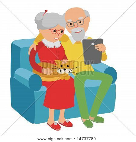 Happy senior man and woman sitting on the sofa read e book and rest.