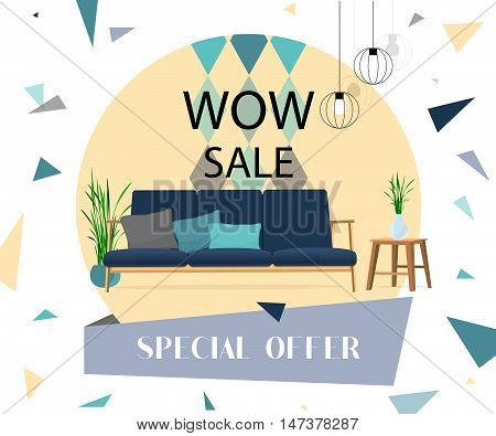 Living room. Wow special offer. Sofa with table and lamp.