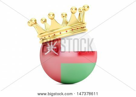 Crown with flag of Oman 3D rendering