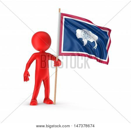 3D Illustration. Man and flag of the US state of Wyoming. Image with clipping path