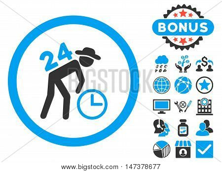 Around the Clock Work icon with bonus pictogram. Vector illustration style is flat iconic bicolor symbols, blue and gray colors, white background.