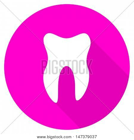 tooth flat pink icon