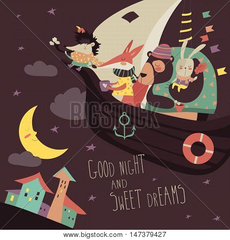 Cute animals swimming on boat in the night sky. Vector illustration