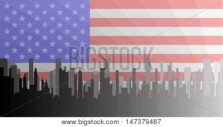 A grey cityscape shown in grey and silhouette with the Stars and Stripes underlay
