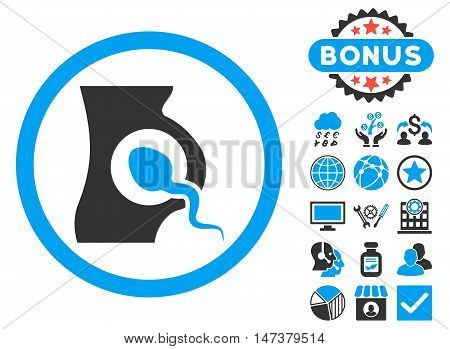 Artificial Insemination icon with bonus pictogram. Vector illustration style is flat iconic bicolor symbols, blue and gray colors, white background.