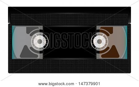 A typical old fashioned video cassette over a white background