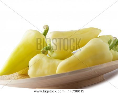 Fresh Yellow Bellpeppers Isolated On White Background