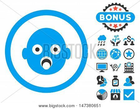 Baby Head icon with bonus pictures. Vector illustration style is flat iconic bicolor symbols, blue and gray colors, white background.