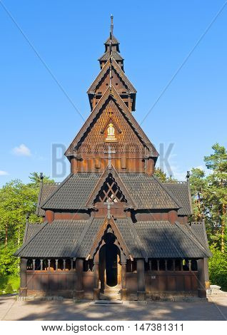 OSLO, NORWAY - AUGUST 29, 2016: The Stave Church from Gol in Norwegian Folk Museum  ( The Norwegian Museum of Cultural History ) in Oslo