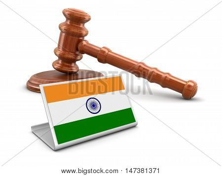 3D Illustration. 3d wooden mallet and Indian flag. Image with clipping path