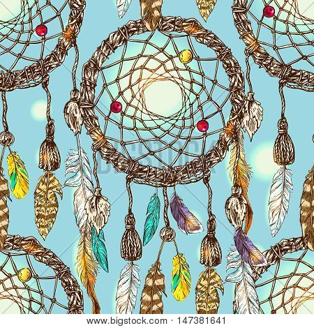Beautiful hand drawn vector boho style illustration of dreamcatcher.Seamless pattern.  Use for postcards, print for t-shirts, posters, wedding invitation, tissue, linens