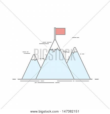 Concept of achievement. Image of high mountains with a red flag on the top. Impregnable height. Vector illustration made in a linear style isolated on white background