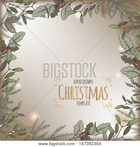 Color vintage Christmas background template with pine and mistletoe branch decorations. Based on hand drawn sketch. Great for greeting cards and holiday design.