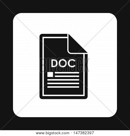 File DOC icon in simple style isolated on white background. Document type symbol vector illustration