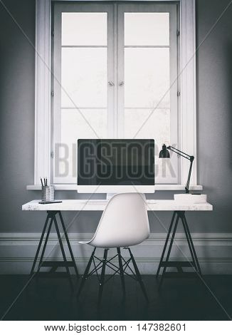 Vertical 3D rendering of large wide screen computer on desk in home office with adjustable lamp and can shaped pen holder