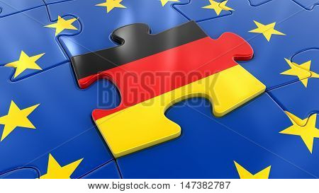 3D Illustration. Germany Jigsaw as part of EU