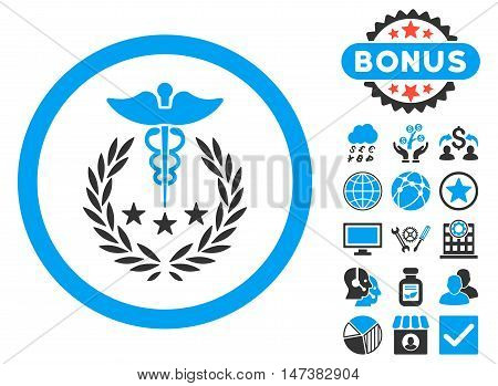 Caduceus Logo icon with bonus pictures. Vector illustration style is flat iconic bicolor symbols, blue and gray colors, white background.