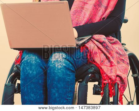 Crippled Person With Laptop