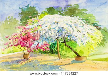 Watercolor painting original landscape pink white color of Paper flowers in sky and cloud background
