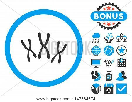 Chromosomes icon with bonus pictures. Vector illustration style is flat iconic bicolor symbols, blue and gray colors, white background.