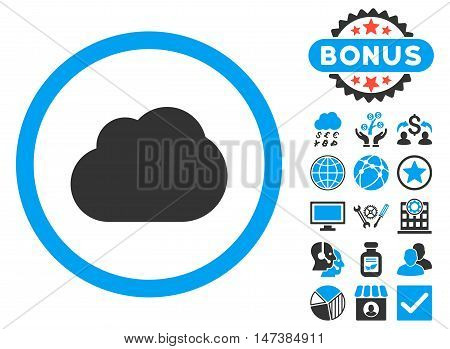 Cloud icon with bonus pictures. Vector illustration style is flat iconic bicolor symbols, blue and gray colors, white background.