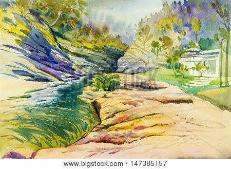 Watercolor landscape original painting colorful of river rocks and emotion in blue background