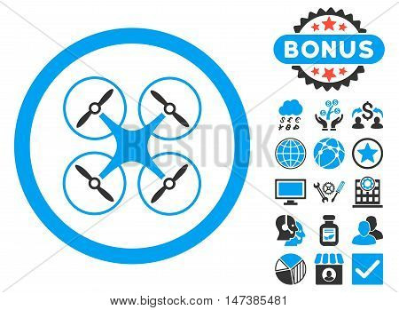 Copter icon with bonus pictures. Vector illustration style is flat iconic bicolor symbols, blue and gray colors, white background.