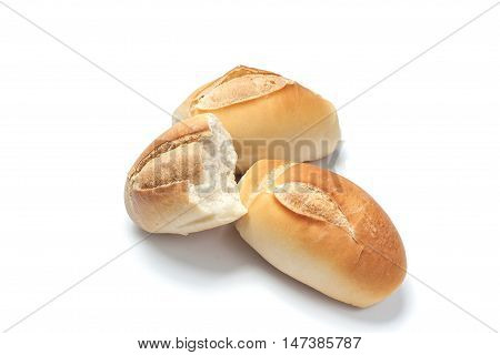 Three fresh French breads on white background