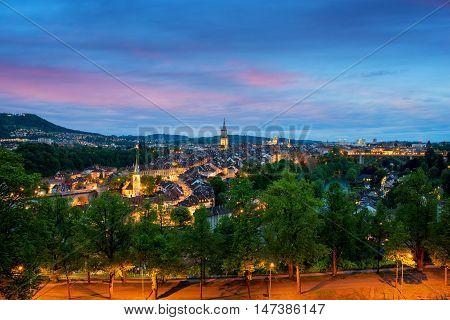 City of Bern skyline with a dramatic sky in Bern Switzerland