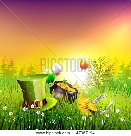 St. Patrick's Day - background with hat pot and coins in the grass at sunset