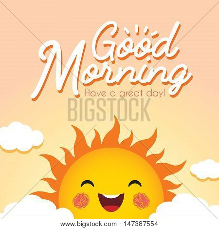 Good Morning. Morning vector illustration with cute smiling cartoon sun and clouds.